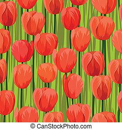 tulipa, flores, seamless, fundo, campo