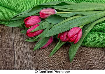 tulips, burlap, experiência verde