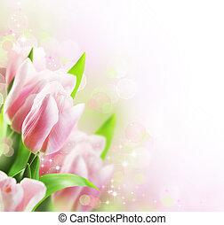 tulips, primavera, borda, desenho