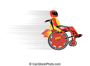 turbo, pessoas, engine., esportes, protetor, montando, costume., capacete, cadeira rodas, inteligência, incapacitado, pessoa, race., racing., velocidade