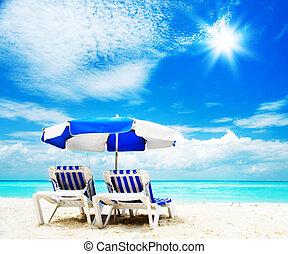 turismo, sunbed, concept., férias praia