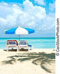 turismo, sunbeds, concept., férias praia