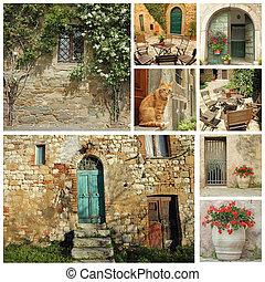 tuscan, casa, antigas, colagem, país, bonito