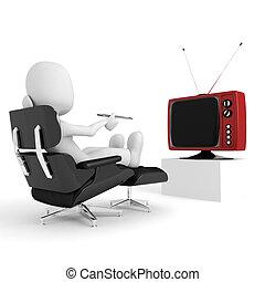 tv, homem, 3d, observar