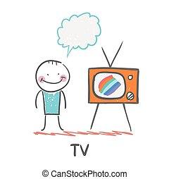 tv, homem, observar