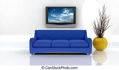tv, sofá, render, 3d