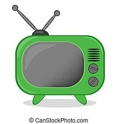 tv, vetorial, ícone, retro