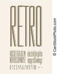 typography., tipo, fonte, retro, vindima