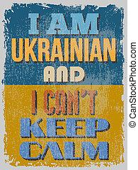 ukrainian, illustrati, poster., mantenha, vetorial, calm., can't