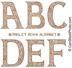 um, alfabeto, paisley, henna
