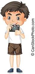 um menino, feliz, câmera