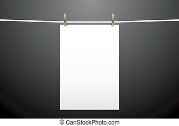 um, papel, penduradas