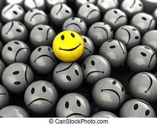 um, rosto feliz