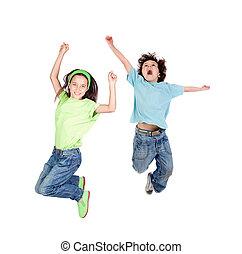 uma vez, pular, crianças, dois, feliz