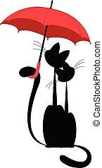 umbrella., vector., isolado, gato, amores, sob, senhora, vermelho