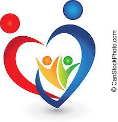 união, forma coração, família, logotipo