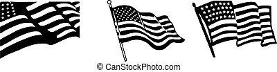 unidas, américa, vetorial, nacional, estados, illustration., flag.