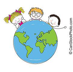 unidas, crianças, mundo, ao redor