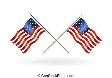 unidas, crucifixos, estados, bandeira, fundo, branca, américa
