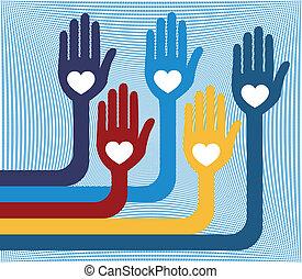 unidas, grupo, hands., amando
