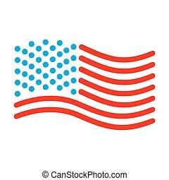 unidas, linear, eua, símbolo, states., bandeira, sinal, estado, américa, style.