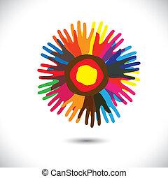 unidas, pessoas, universal, comunidade, flower:, ficar, ícones, concept., fraternidade, feliz, coloridos, representa, ilustração, mão, pétalas, unidade, ajudando, gráfico, este, etc, vetorial, equipe