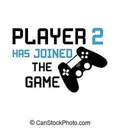 unido, pretas, texto, engraçado, tem, controller., jogador, 2, jogo