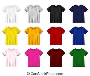 unissex, experiência., t-shirt, tee, isolado, template., mockup, jogo, branca