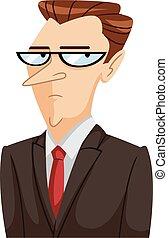 uptight, homem, expressão, ilustração