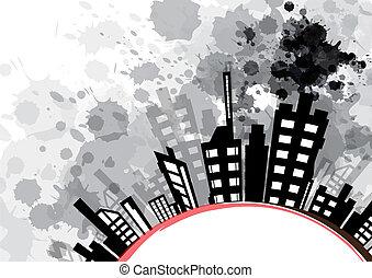 urbano, abstratos, respingo, tinta preta, desenho