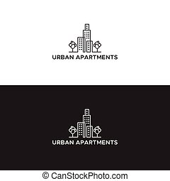 urbano, branca, apartamento, pretas, logotipo