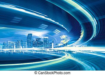 urbano, trails., coloridos, luz cidade, abstratos, modernos, centro cidade, ilustração, movimento, ir, velocidade, rodovia