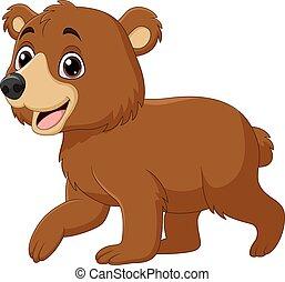 urso bebê, caricatura, engraçado, andar