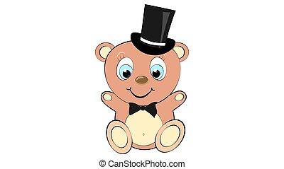 urso, cabeça, menino, fundo, azul, vetorial, cute, space., arco, bonito, branca, cópia, grande, laço, olhos, marrom, cilindro