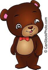 urso, cute, fundo, caricatura, branca