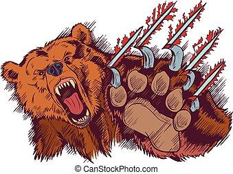 urso marrom, ou, vetorial, slashing, arranhe, caricatura, mascote