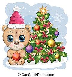 urso, natal, cute, árvore., chapéu, caricatura, olhos, grande, decorado
