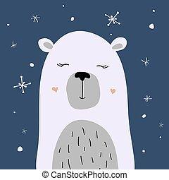 urso polar, neve, vetorial, desfrutando, cartão natal