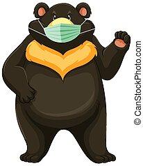 urso, pretas, máscara, desgastar, caricatura, personagem