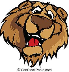 urso, sorrindo, mascote, vetorial, caricatura