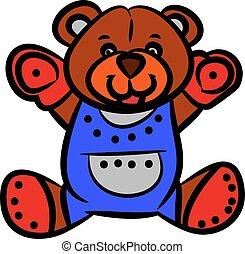 urso teddy, cute, marrom, experiência., caricatura, branca