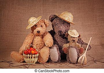 ursos, três, pelúcia