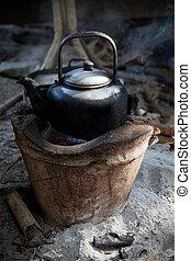 usado, antigas, fluxo, fogão, chaleira, água, tradição
