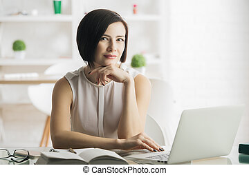 usando, mulher, laptop, jovem