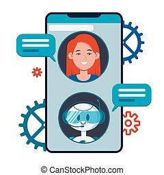 usuários, chatbot, concept., conversando, local, apartamento, conversa, cute, robô, aplicação, bandeiras, bot, smartphone., caricatura, vetorial, móvel, teia, ilustração