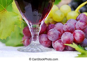 uvas vinho, tabela, vermelho, vidro