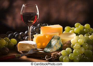 vário, tipos, queijo, composição