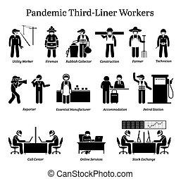 vírus, cliparts., trabalhadores, pandemic, third-liner
