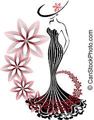 vórtice, mulher, flor