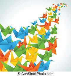 vôo, abstratos, experiência., papel, origami, pássaros